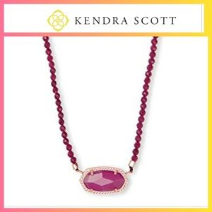 Kendra Scott Elisa Beaded Necklace Maroon Jade
